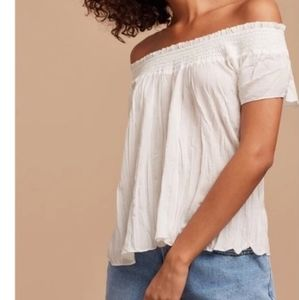 Talula Aritzia Cabrini White Off Shoulder Top Boho